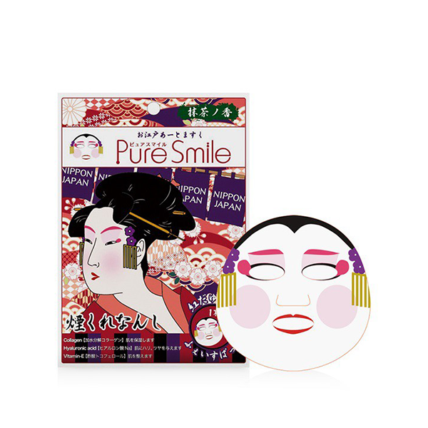Pure Smile Oedo Art Mask Benidayuu -Mặt Nạ Dưỡng Trắng Da N Với Chiết Xuất Từ Tinh Chất Trà Xanh, Rau Sam, Cây Phỉ